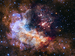 The 25th anniversary NASA Hubble Space Telescope image has been processed in collaboration with IMPRS-HD student Peter Zeidler.Westerlund 2 is one of the most massive young star clusters in the Milky Way. With an age of only two million years and its close proximity to Earth (4.16 kpc), it is a perfect target to study early cluster evolution.Using deep, high-­resolution Hubble Space Telescope images we can determine the cluster's properties with unprecedented accuracy.The main goals of Peter and collaborators are to characterize its dominant pre-­main-­sequence population, to de termine its mass function, and to reveal a possible age spread.